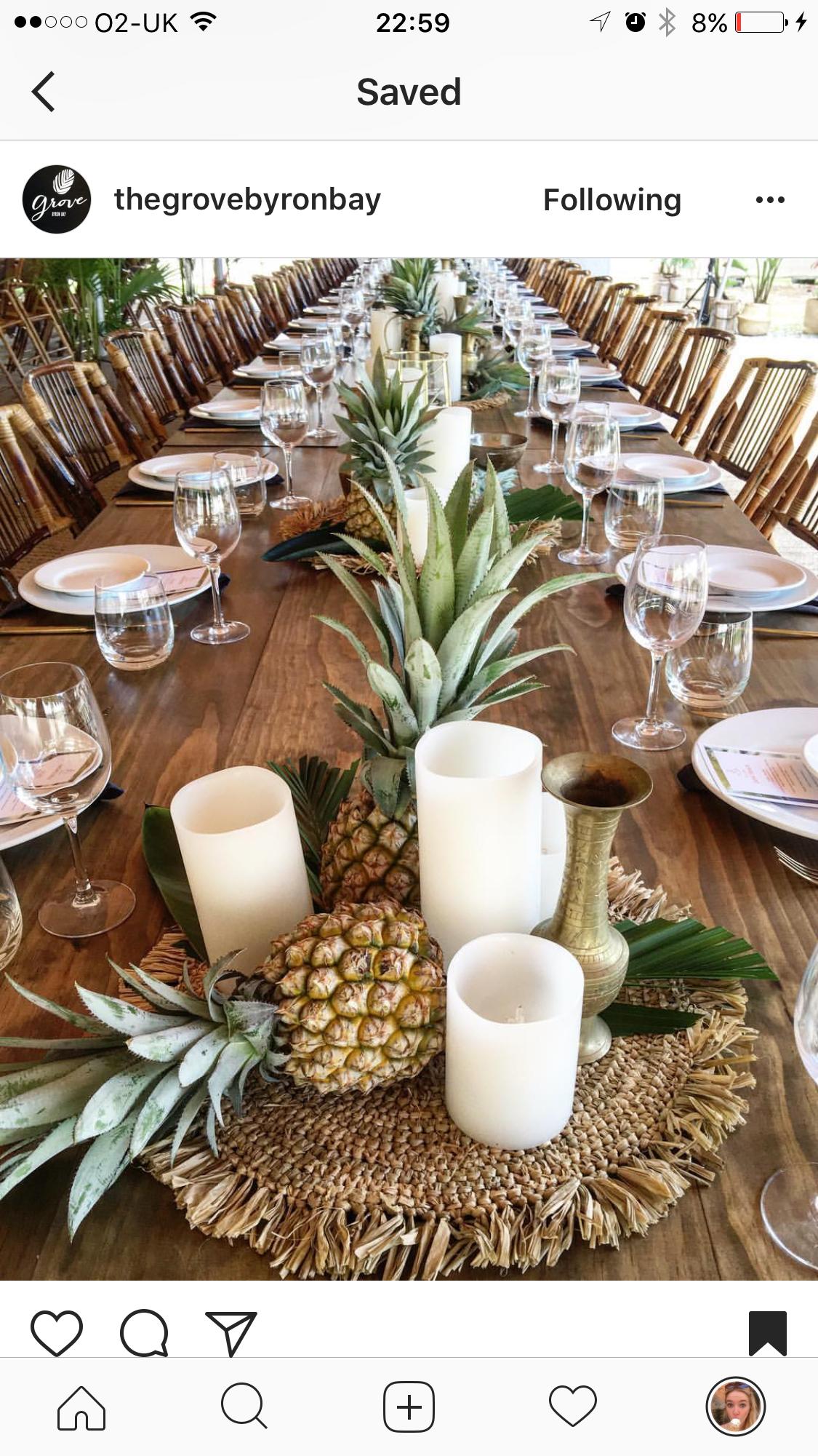 Pin By Alijah Gunsaulus On Table Dressing Pineapple Wedding Tropical Bridal Showers Pineapple Centerpiece
