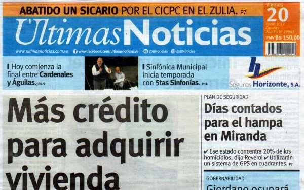 Últimas Noticias Vargas viernes 20   enero  de  2017