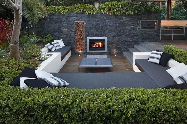 Garten Sitzgruppe Lounge-Möbel Feuerstelle-Einbaukamin Ideen