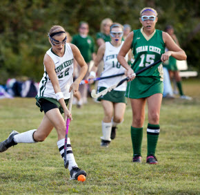 Seton Keough High School senior Anna Stumme plays mid-field during an 8-0 win over the Indian River High School Field Hockey Team Sept. 25. Anna Stumme is a standout in the classroom and on the sports field.