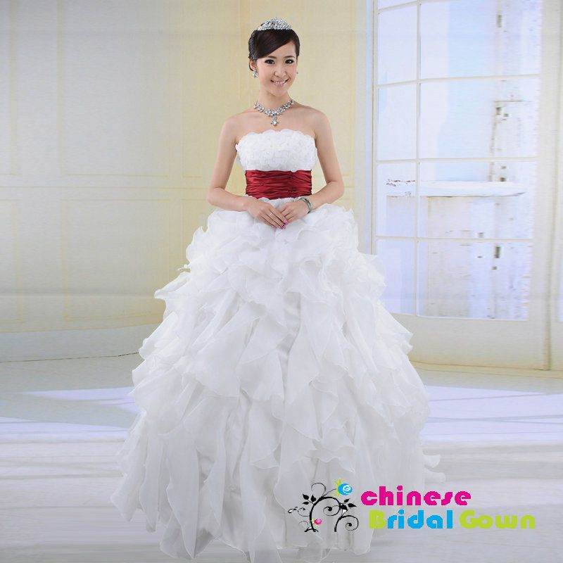 Style 80123, Wonderful Organza Ball Gown Strapless Chinese Wedding Dress by CBG.