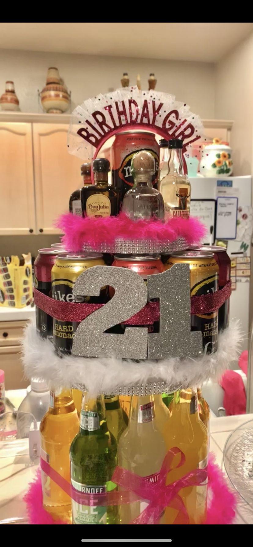 21st birthday alcohol cake in 2020 21st birthday cake