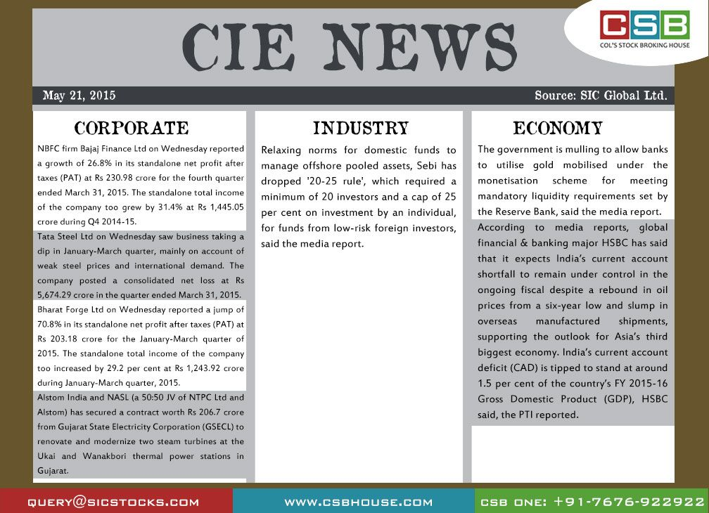 CSB CIE News: (May 21, 2015) Bringing to you important news and key highlights from corporate, industry, and economy. Don't miss the updates! To read more, visit http://www.csbhouse.com #stocks #globalnews #researchreports