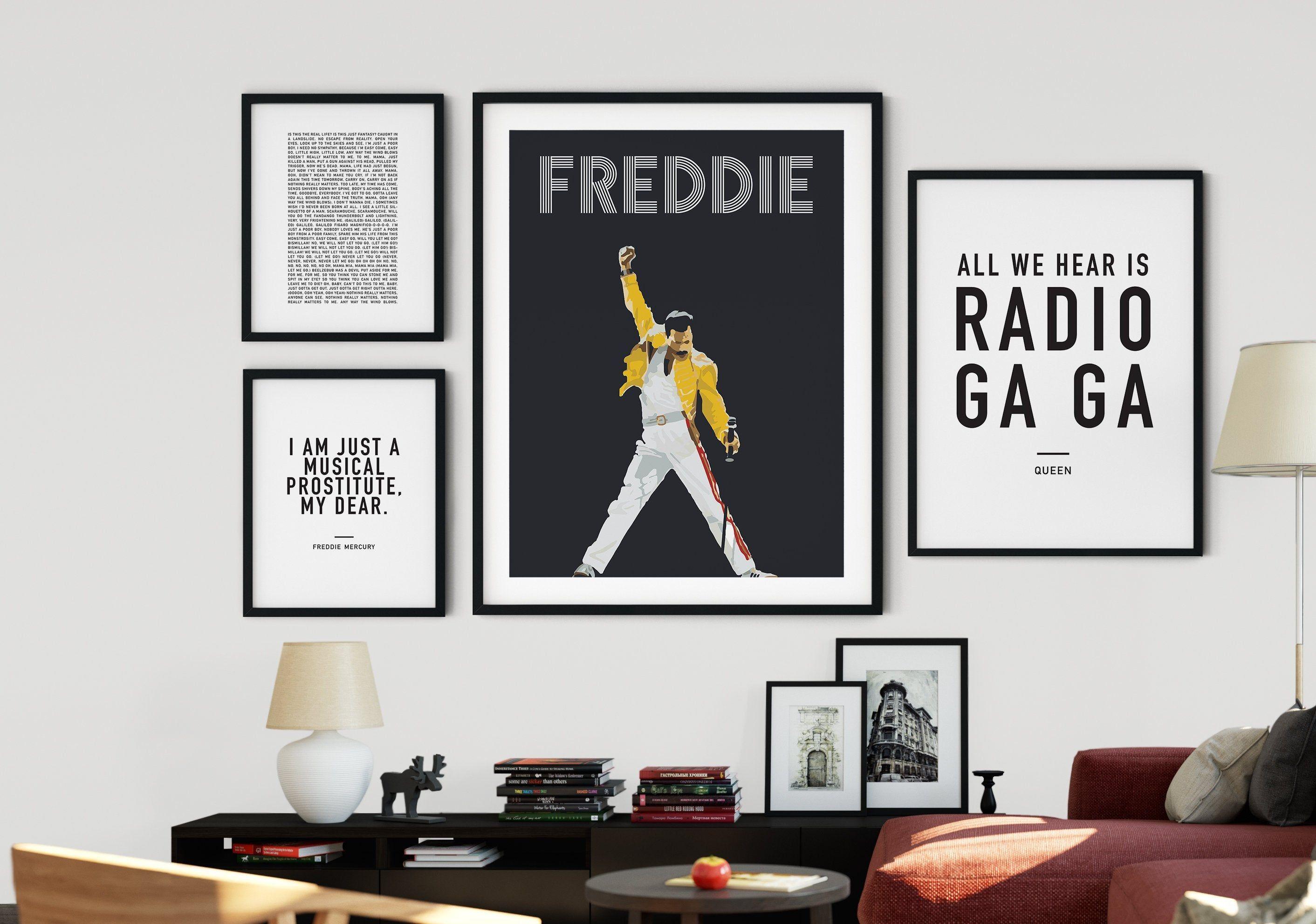 Set Of 4 Freddie Mercury Queen Printable Art Gallery Wall Etsy Gallery Wall Gallery Wall Etsy Gallery Wall Set Living room ny lyrics