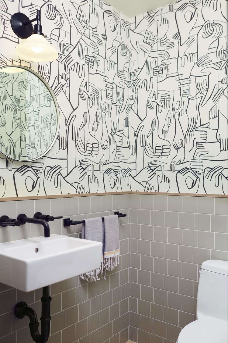 Navy Interior Design: Los Angeles Pilates Studio Bathroom, Graphic  Wallcovering, Ceramic Tile Wainscot