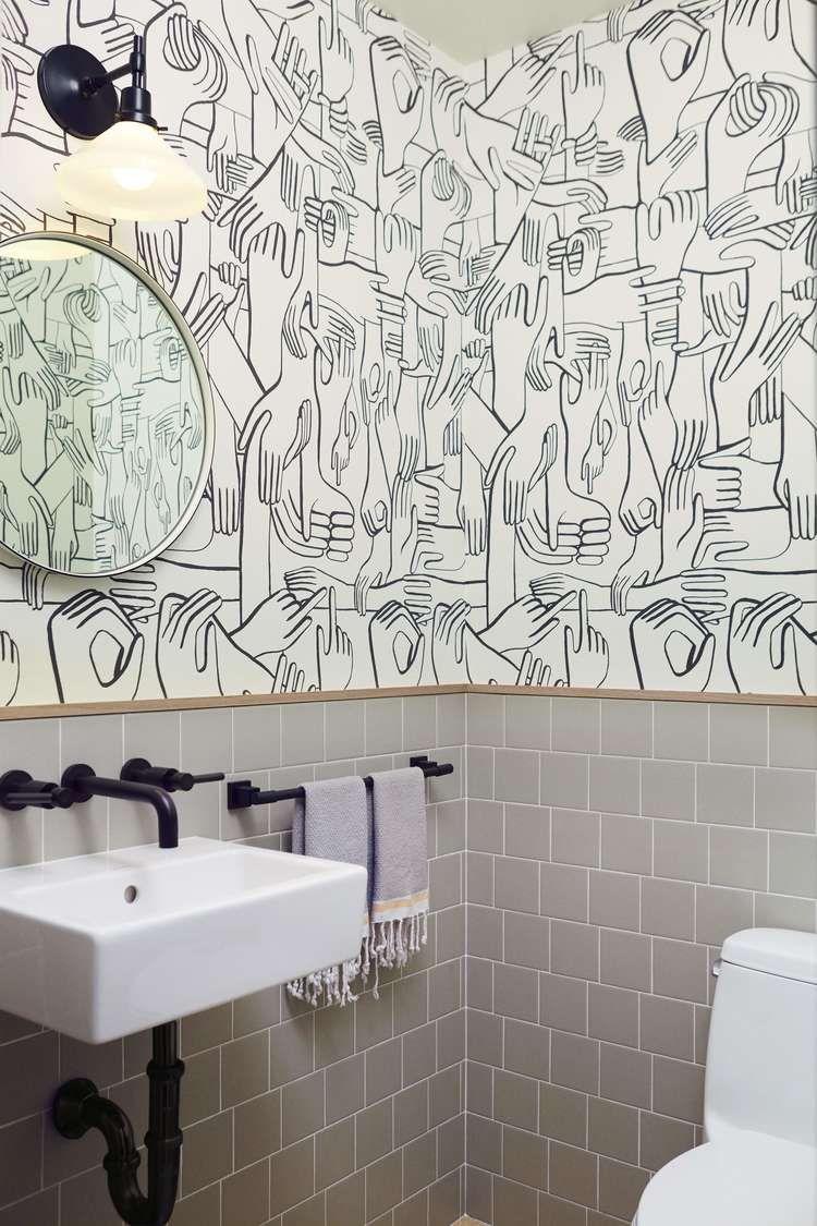 Navy Interior Design Los Angeles Pilates Studio Bathroom Graphic