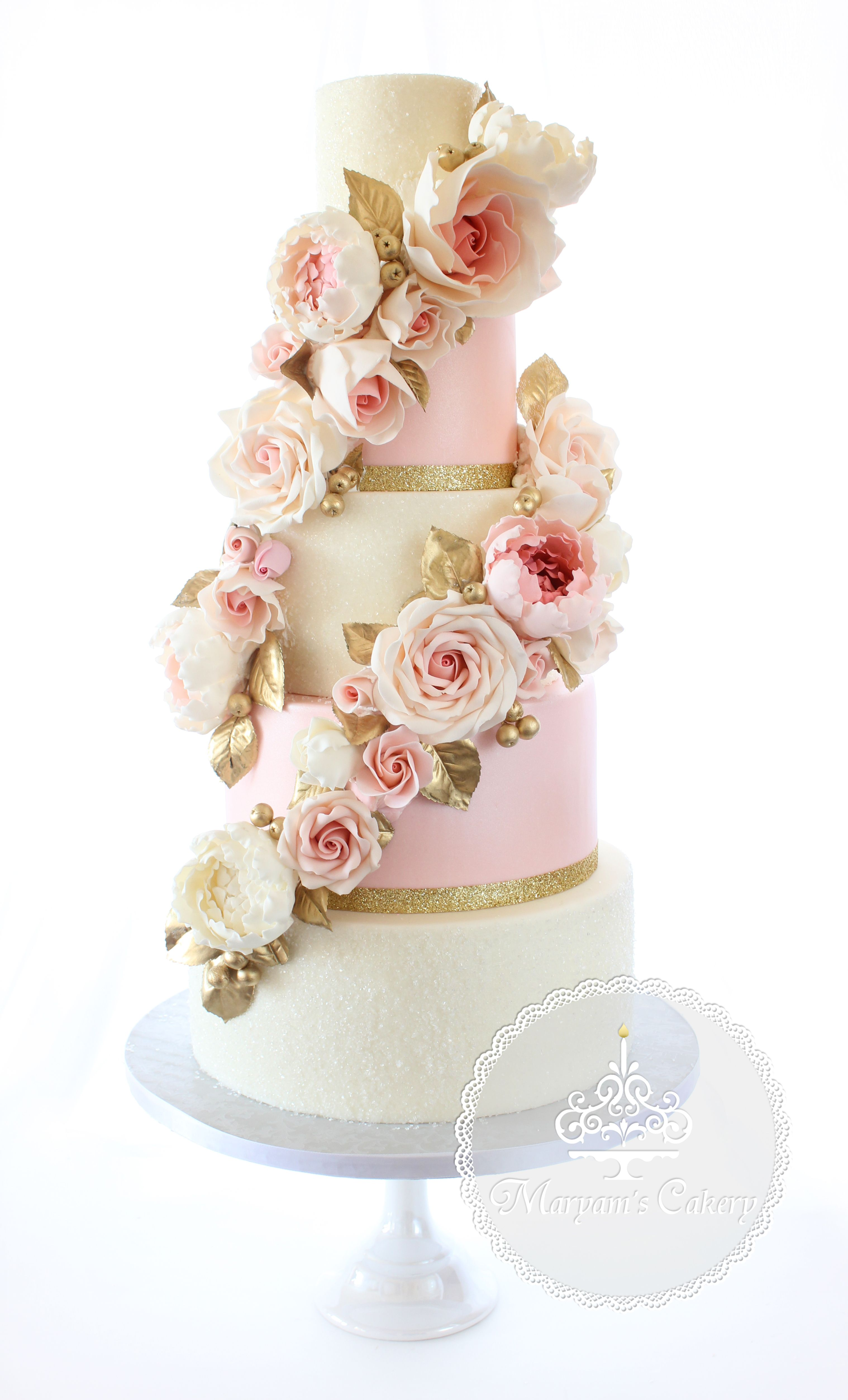 sugar flowers cascading down wedding cake. by: Maryam\'s Cakery https ...