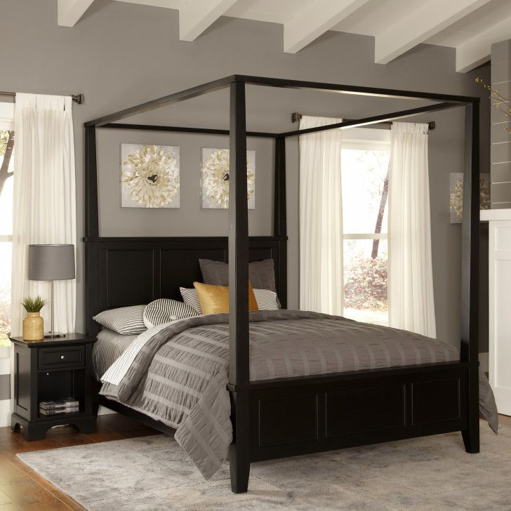 Best Furniture Masculine Black Wooden Canopy California King Size Bed Frame In Dark Master Bedroom 400 x 300