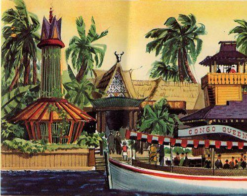 Ilustração vintage da Adventureland da Disneyland da Califórnia.