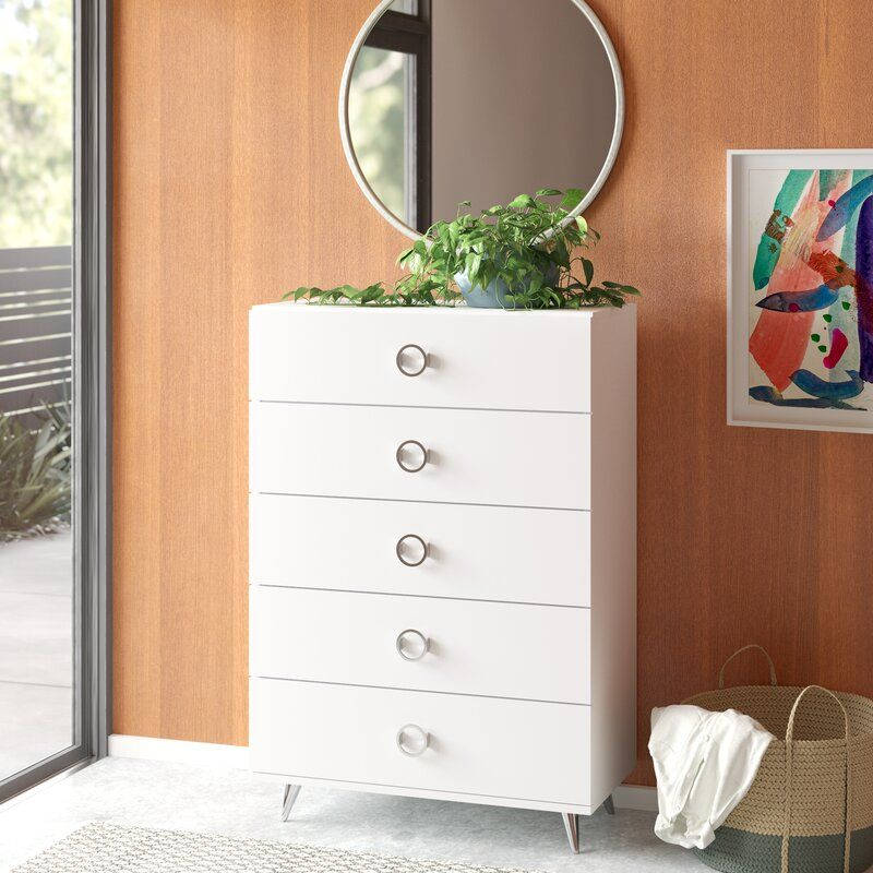 Magnus 5 Drawer Chest Reviews Allmodern Modern Dresser Dressers And Chests Dresser Narrow chest of drawers for hallway