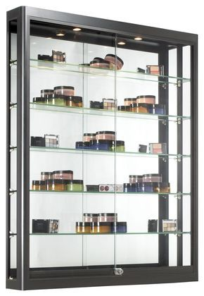 3x4 Wall Mounted Display Case W Slider Doors Mirror Back Locking