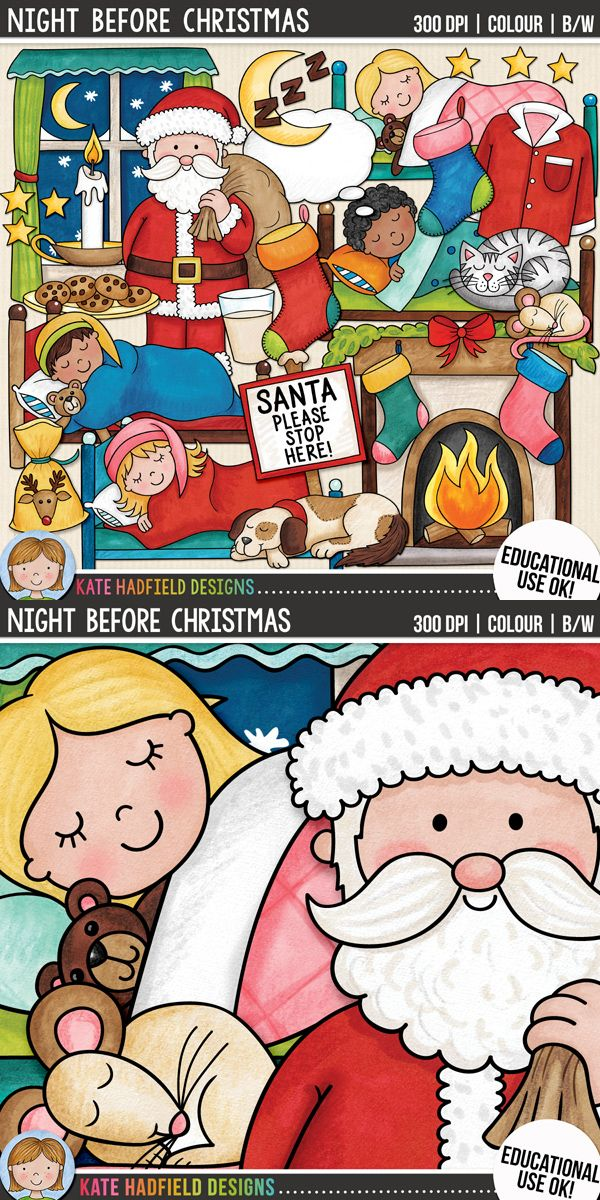 Christmas Eve Night Before Clip Art For Teachers Contains Coloured Clipart And Black White Outlines At 300 Dpi Highest Quality Printing