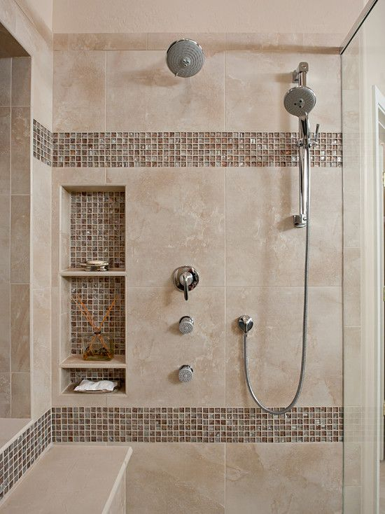 Bathroom Tile Ideas For Shower Walls up close view of shower cutouts to hold supplies. | beautiful