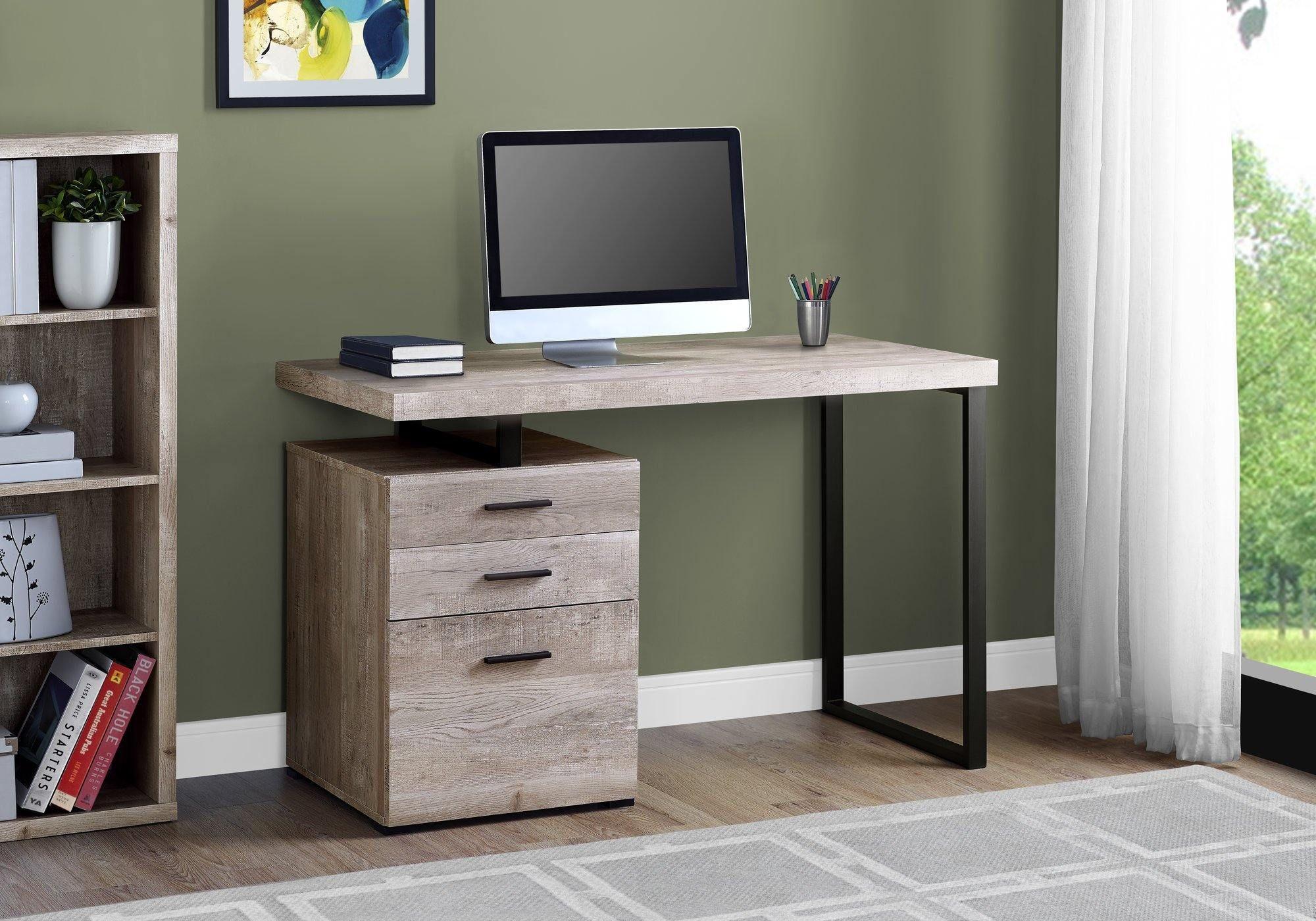 23 75 X 47 25 X 30 Taupe Black Particle Board Hollow Core Metal Computer Desk In 2021 Wood Computer Desk Metal Computer Desk Small Office Desk