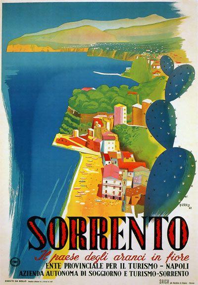 TW21 Vintage Italy Sorrento Campania Italian Travel Poster Re ...