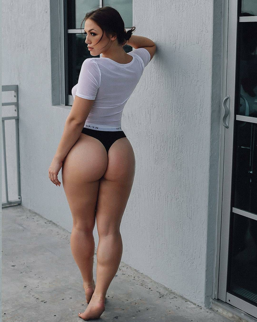 Gorgeous Curvy Brunette Model Anna Matthews Showing Off Her Sexy Ass In A Black Thong