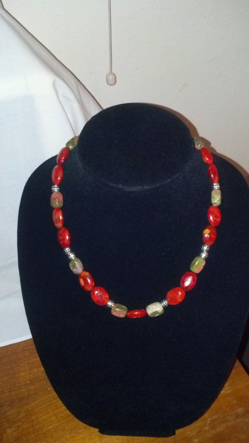 Stunning coral beaded necklace with silver plated by HollyLola, $22.75