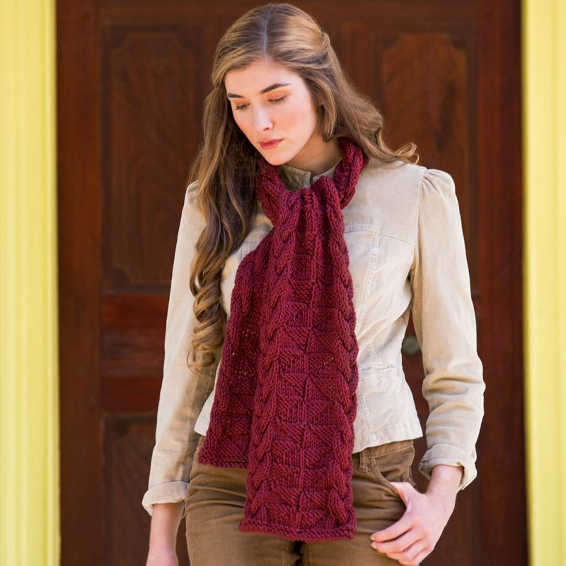 Premier Yarns Downton Abbey® Mirrored Cabled Scarf | Scarf ...