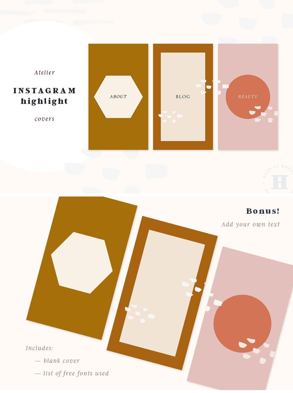 Atelier Instagram Highlight Covers Visitenkarten