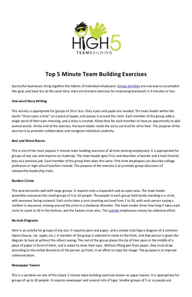 Top 5 Minute Team Building Exercisessuccessful Businesses Bring