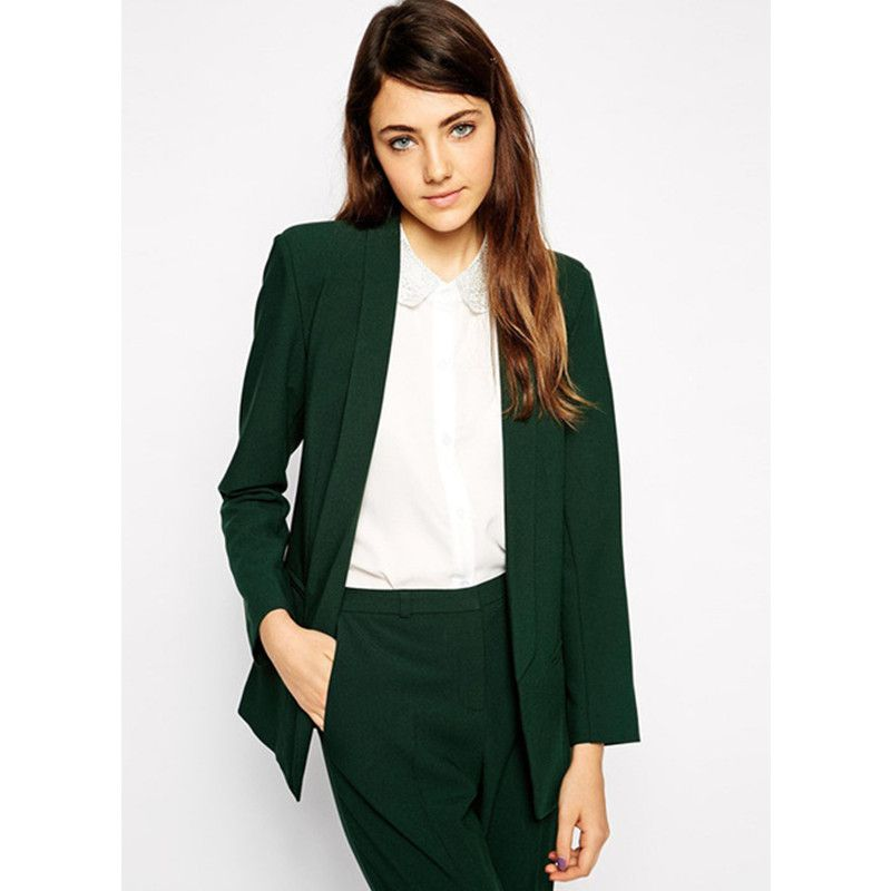 New Fashion 2015 Women Suit Custom made Dark Green Casual Single ...