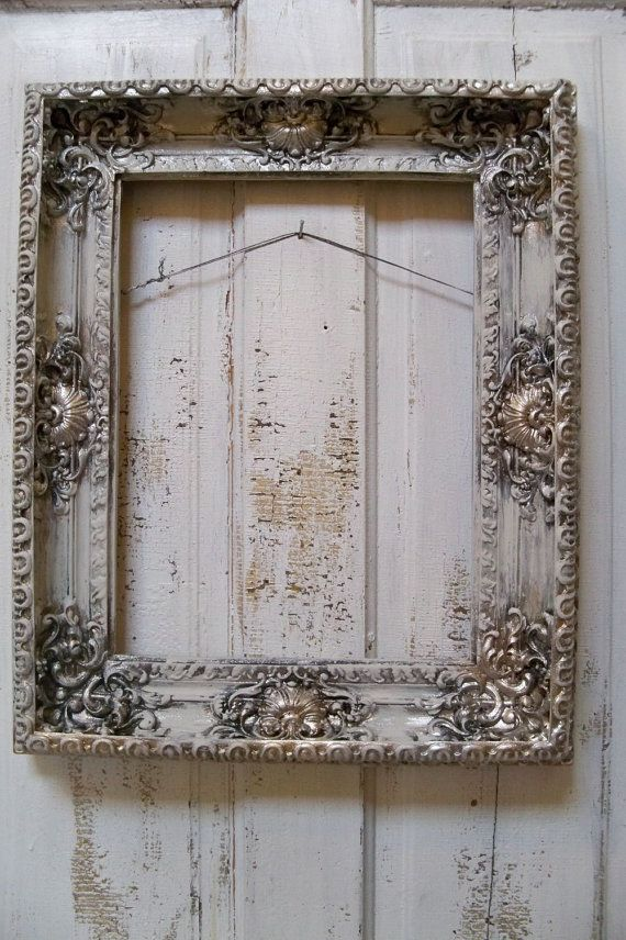 Distressed Picture Frame Ornate Large Muted French Chic White Putty
