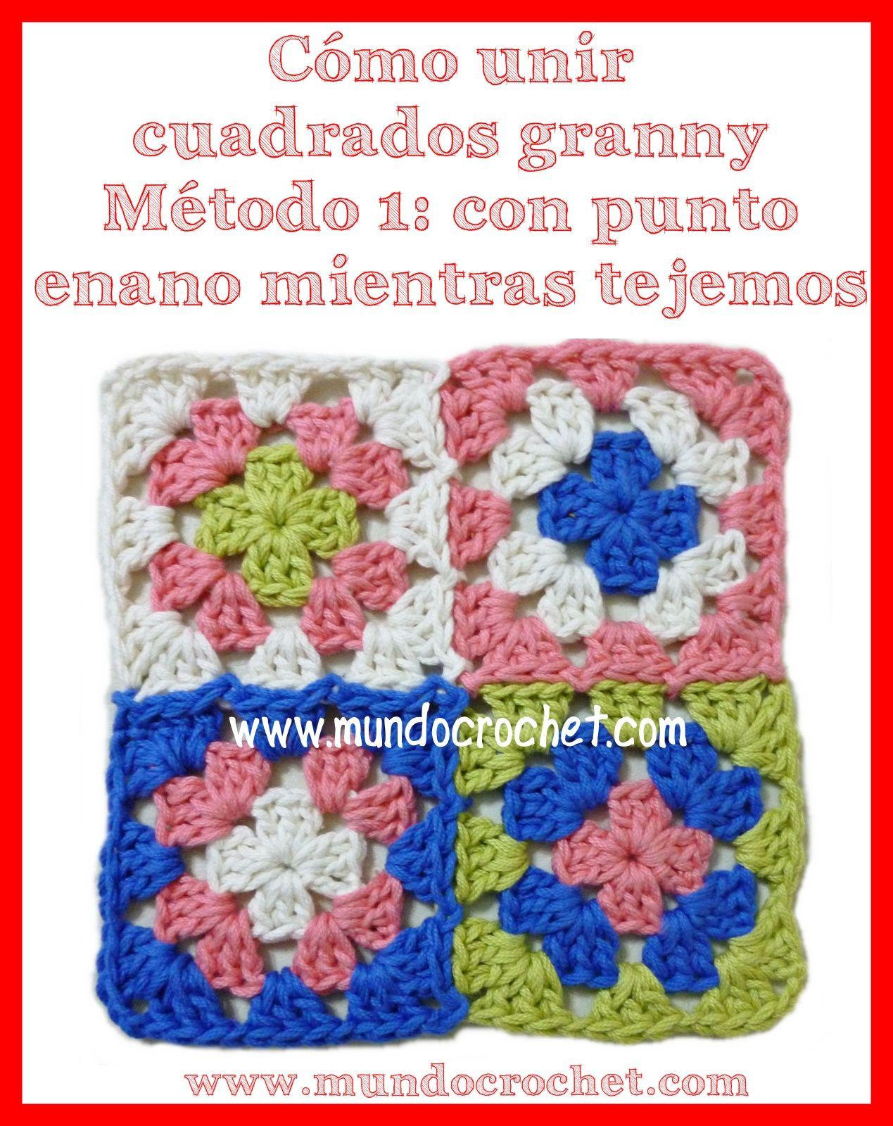 como unir cuadrados granny a crochet o ganchillo | ganchillo ...