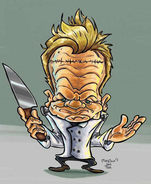 Martinus Van Tee Illustration Gordon Ramsay Caricature