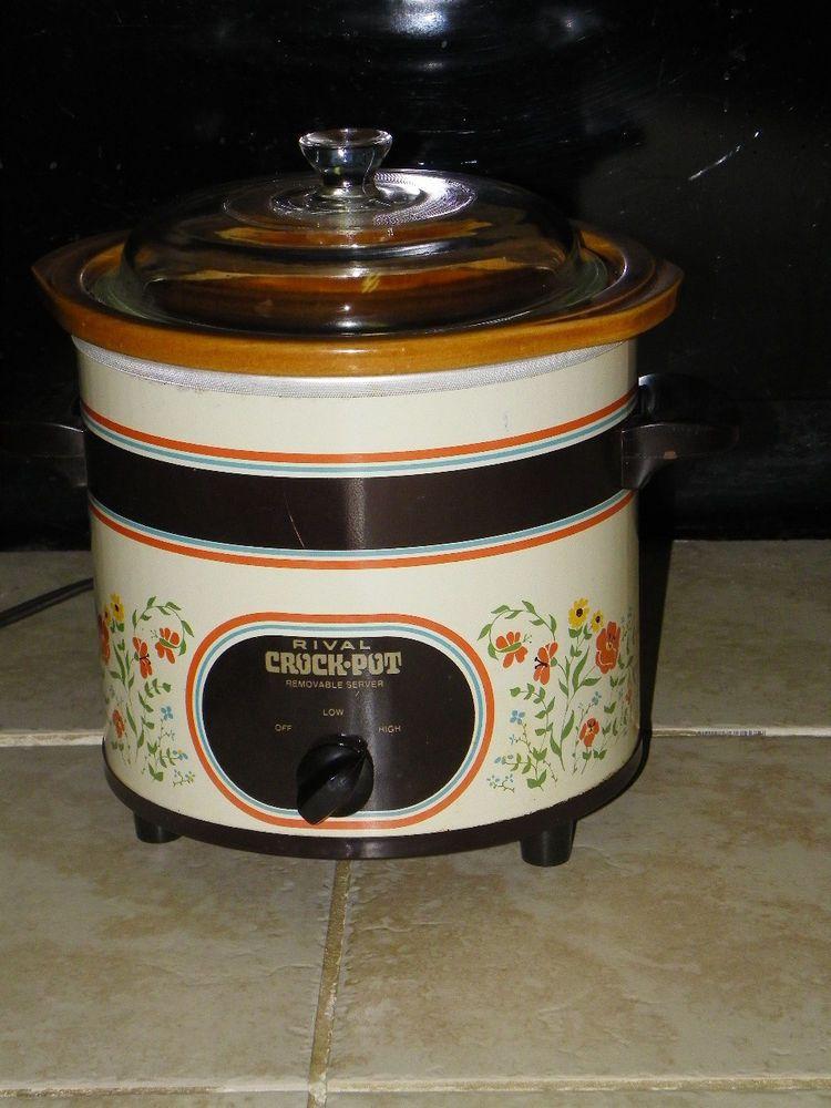 VTG Rival 3.5 (3 1/2) qt Crock Pot W/ Removable Stoneware Slow Cooker 3150 retro