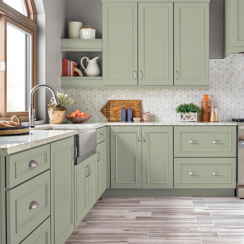 Behr Premium 1 Gal S380 3 Urban Nature Semi Gloss Enamel Interior Cabinet And Trim Paint In 2020 Painted Kitchen Cabinets Colors New Kitchen Cabinets Kitchen Design