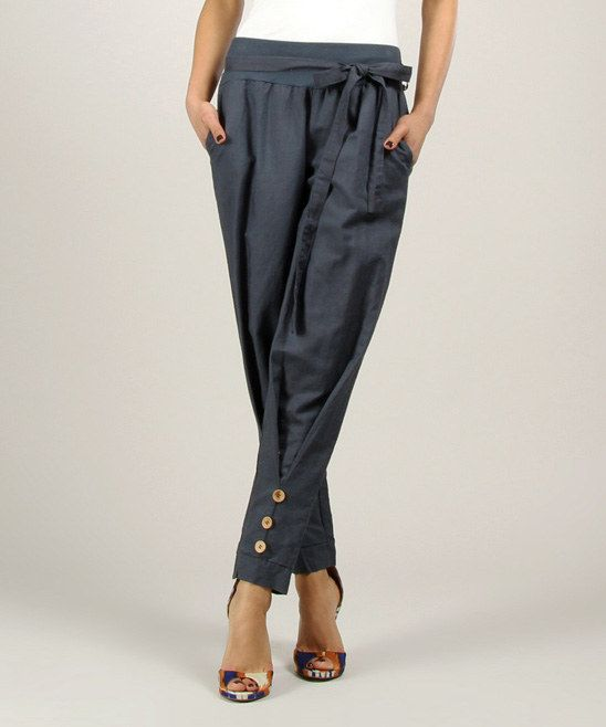 Navy Linen Pants with buttoned taper detail