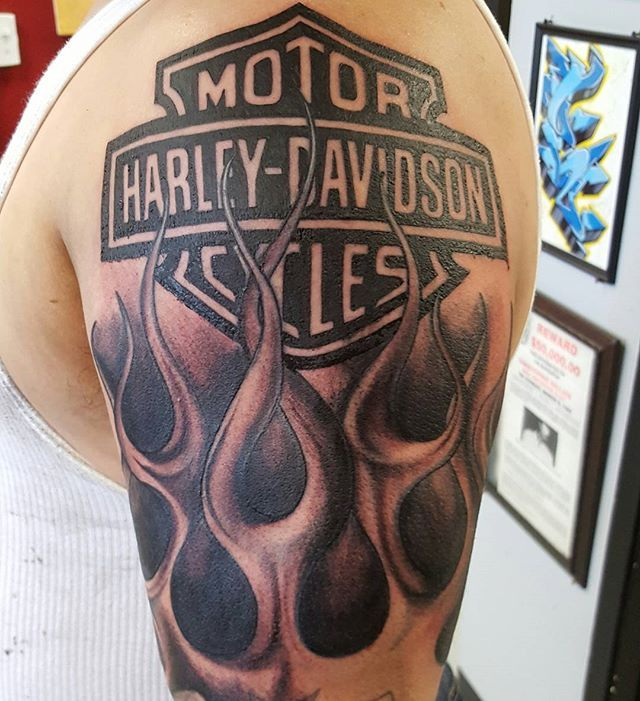 Added The Harley Davidson Logo And Restored The Flames Klockwork Tattoo Club Klockworktattooclub Klockwork Harelydavi Harley Tattoos Sleeve Tattoos Tattoos