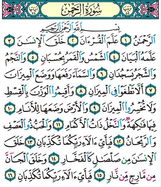 سورة الرحمن Islam Quran Quran Islam