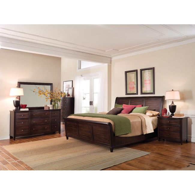 A r t furniture intrigue wood sleigh king 4 piece bedroom - 5 piece queen sleigh bedroom set ...