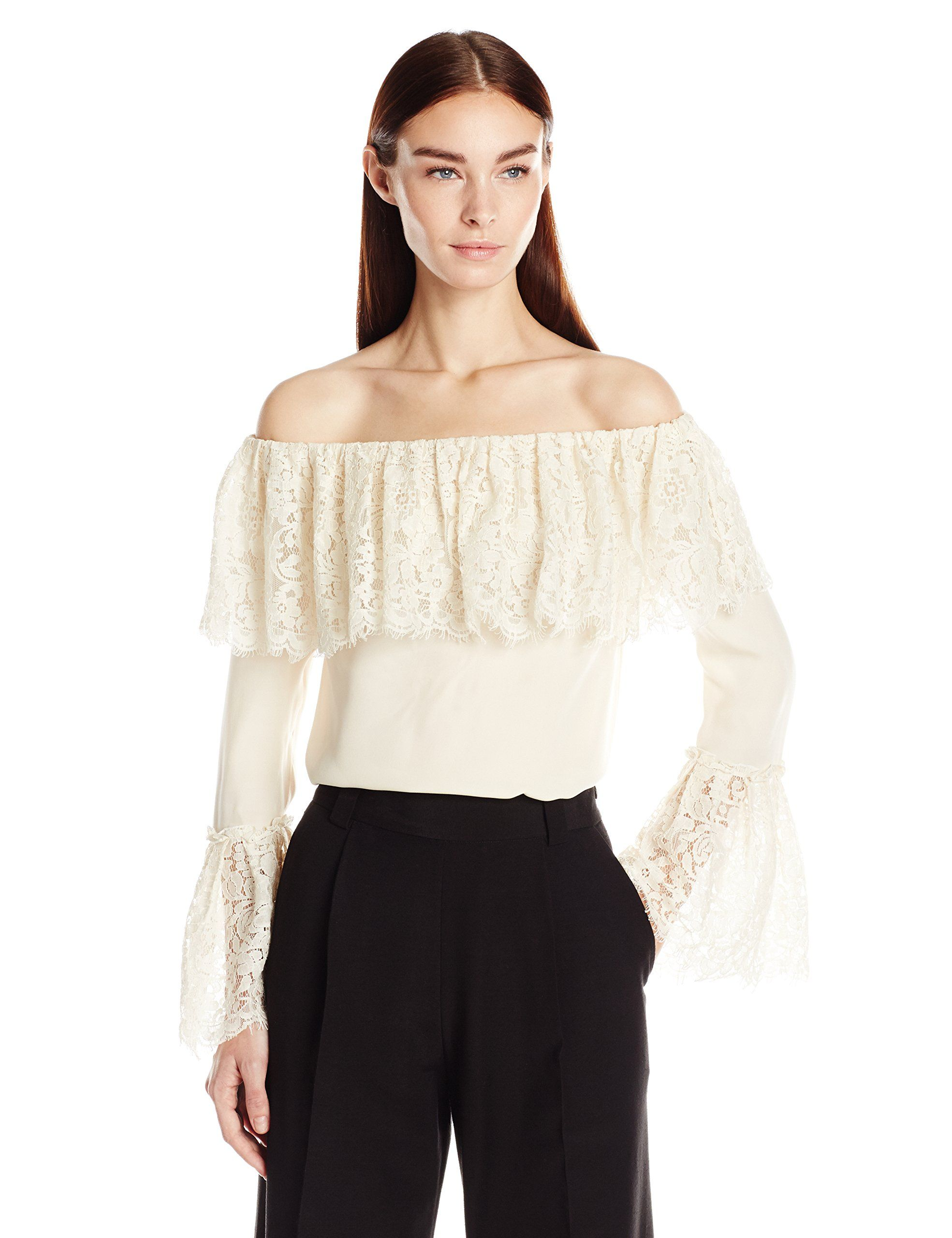 Rachel Zoe Women's Krystal Peasant Top, Ecru, 4. Off-the-shoulder top featuring cutwork lace at popover ruffle and bell sleeves.