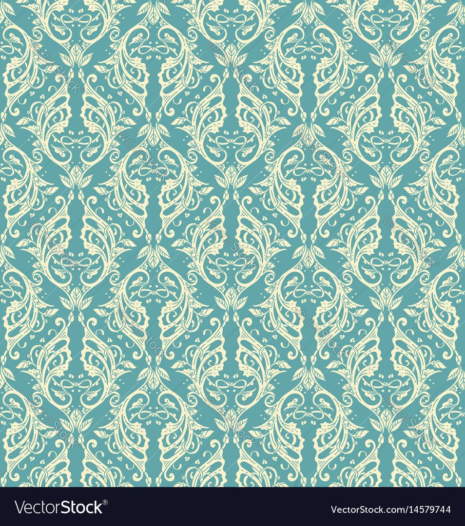 Floral seamless pattern - vector illustration of detailed ornament of floral twigs and curled branches in blue colors. Download a Free Preview or High Quality Adobe Illustrator Ai, EPS, PDF and High Resolution JPEG versions.