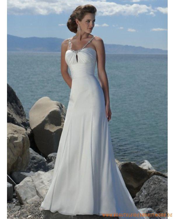 Neue Brautmode für Strandhochzeit aus Chiffon Verziertes Korsett und ...