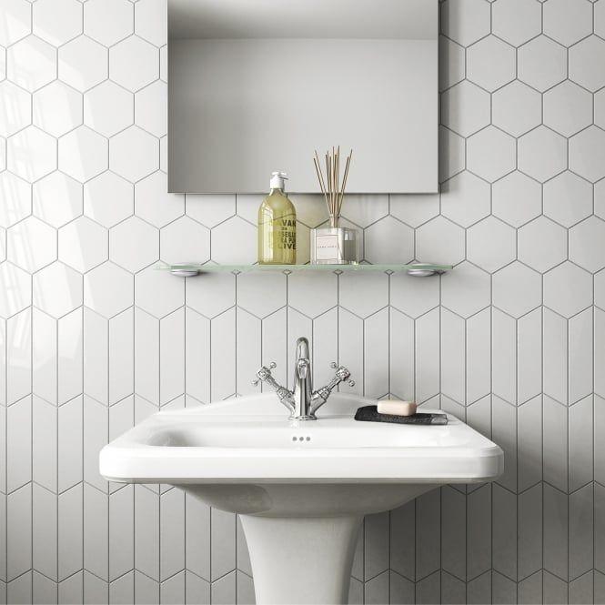 Chevron Hexagon White Matt 12 4cm X 10 7cm Wall Tile Per Box Hexagon Tile Bathroom Chevron Tile Hexagon Wall Tiles