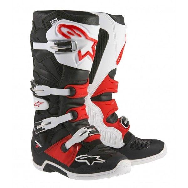 Alpinestars Tech 7 2015 Mx Boots Black White Red V1mx With Images Mx Boots Mining Boots Black Boots