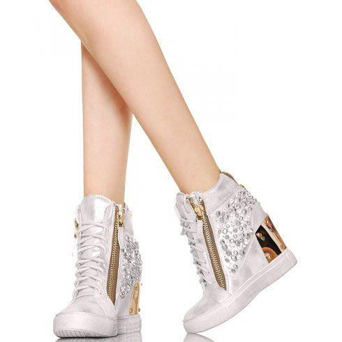 Exklusiv Glamour Sneakersy Cyrkonie Srebrne Sneakers Wedge Sneaker Shoes