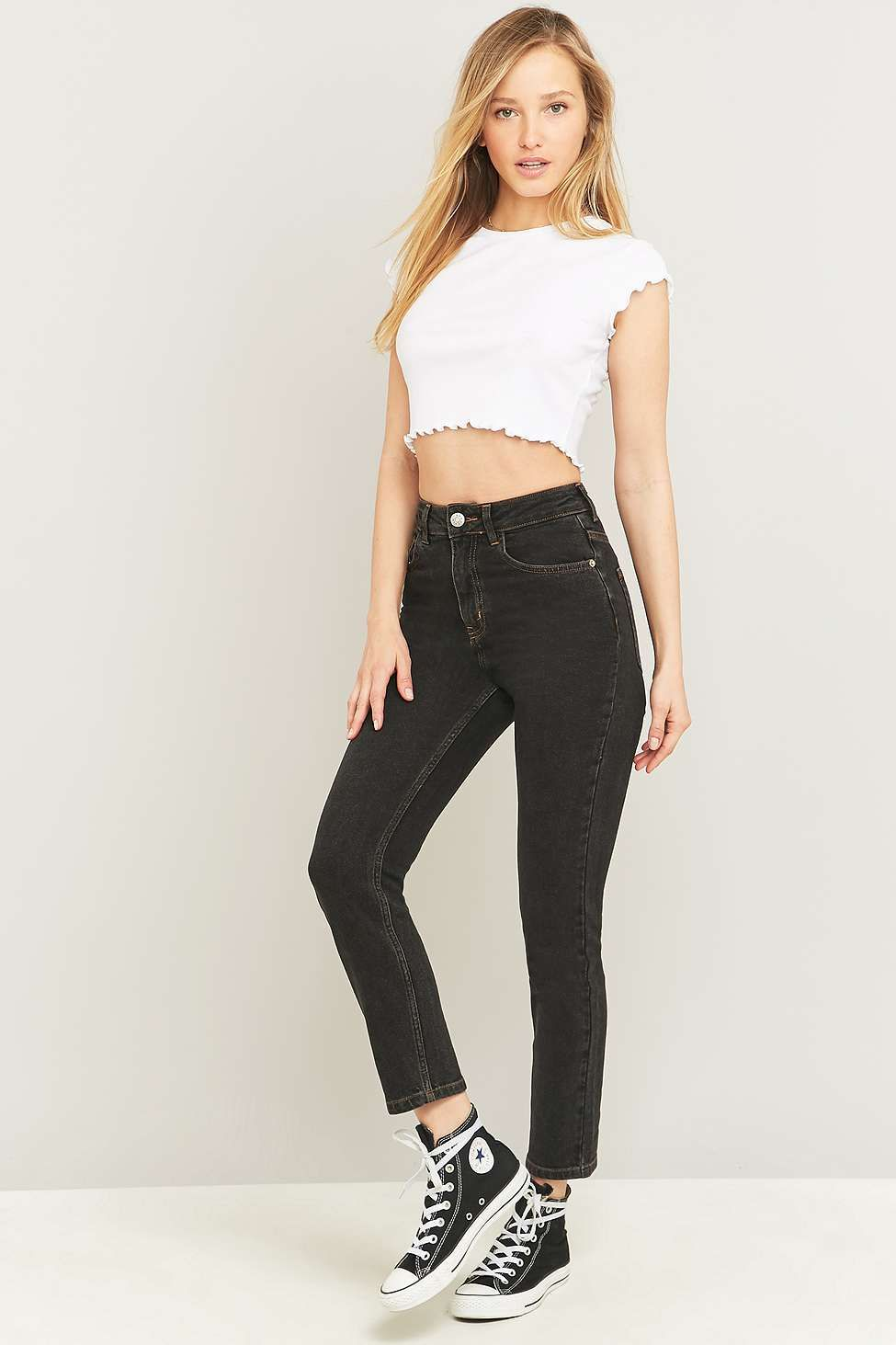 10a0d3bf02d8 BDG High-Waisted Black Girlfriend Jeans - Urban Outfitters