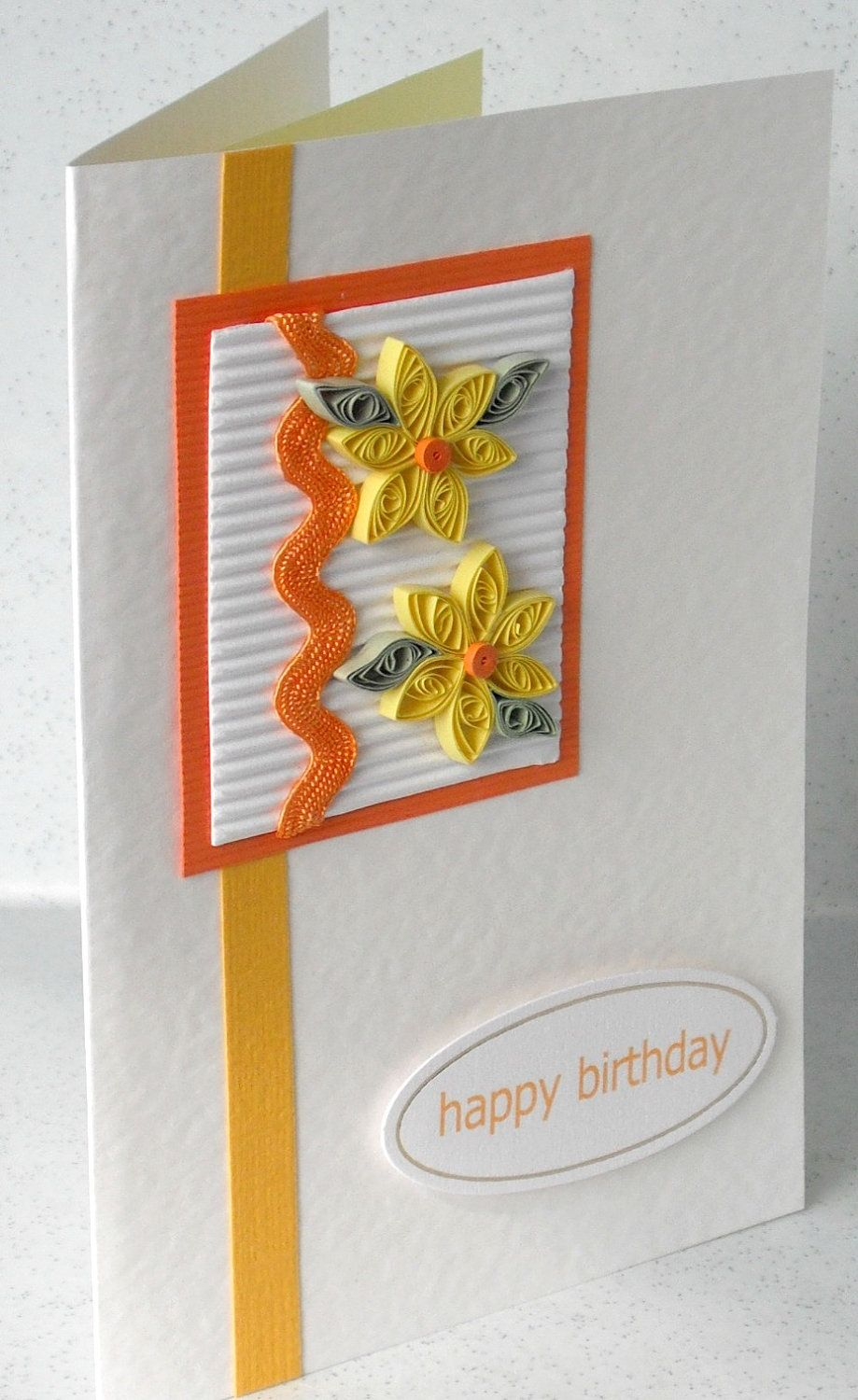 Birthday card quilled quilling daisies orange and lemon handmade