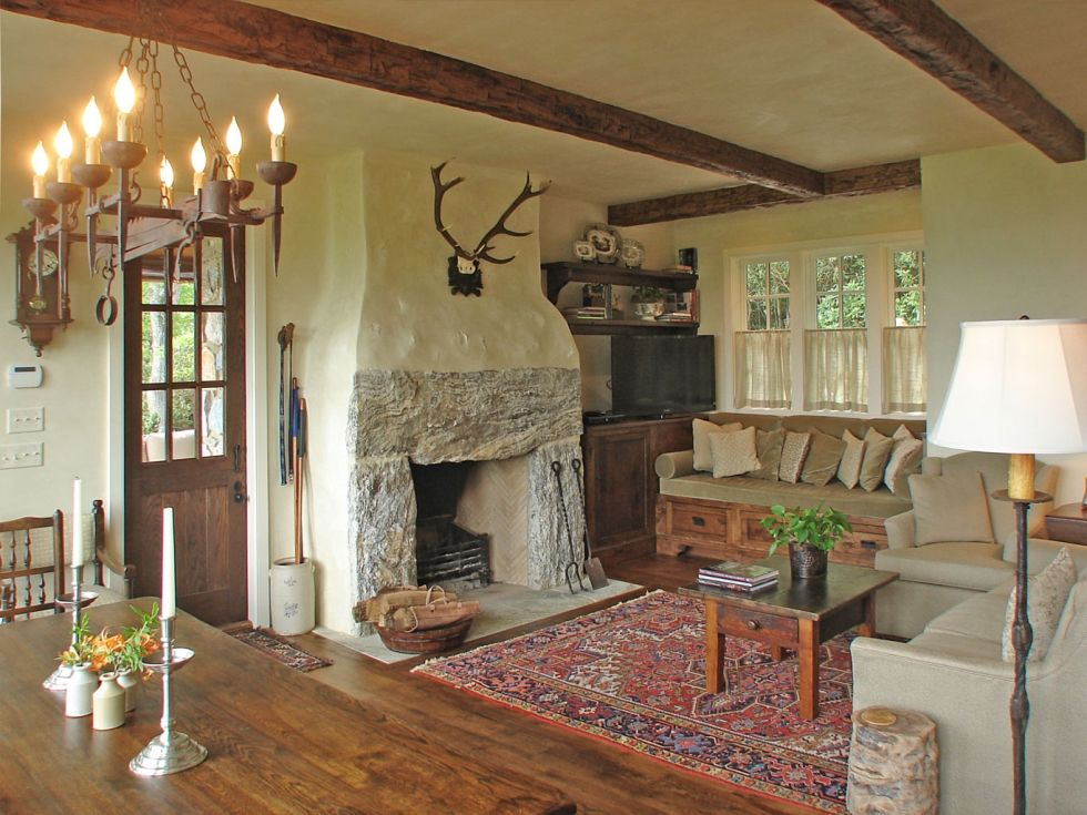 Cottage Living Room With Fireplace this room is way past perfection! amazing fireplace, the antlers