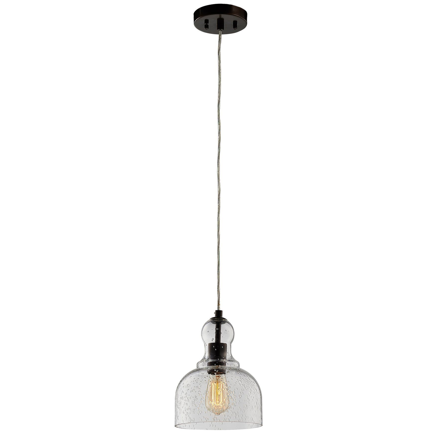 Co Z One Light Bronze Pendant Ceiling Hanging Light With Hand Blown