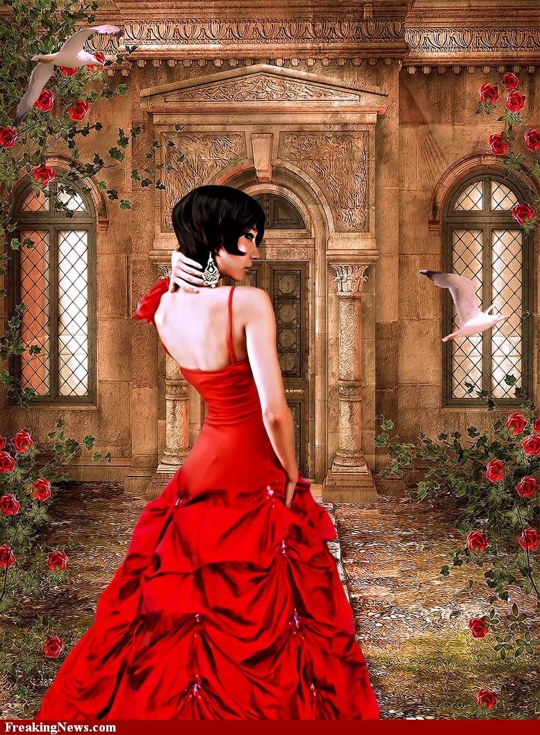 Woman With A Red Dress In The Garden Dress Painting Red Gowns Red Dress Women [ 1058 x 777 Pixel ]