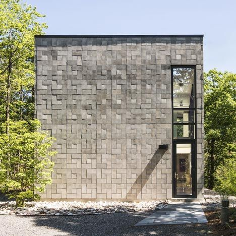 House In Canada With A Concrete Brick Facade By Kariouk Associates Stone Facade House On A Hill Brick Architecture