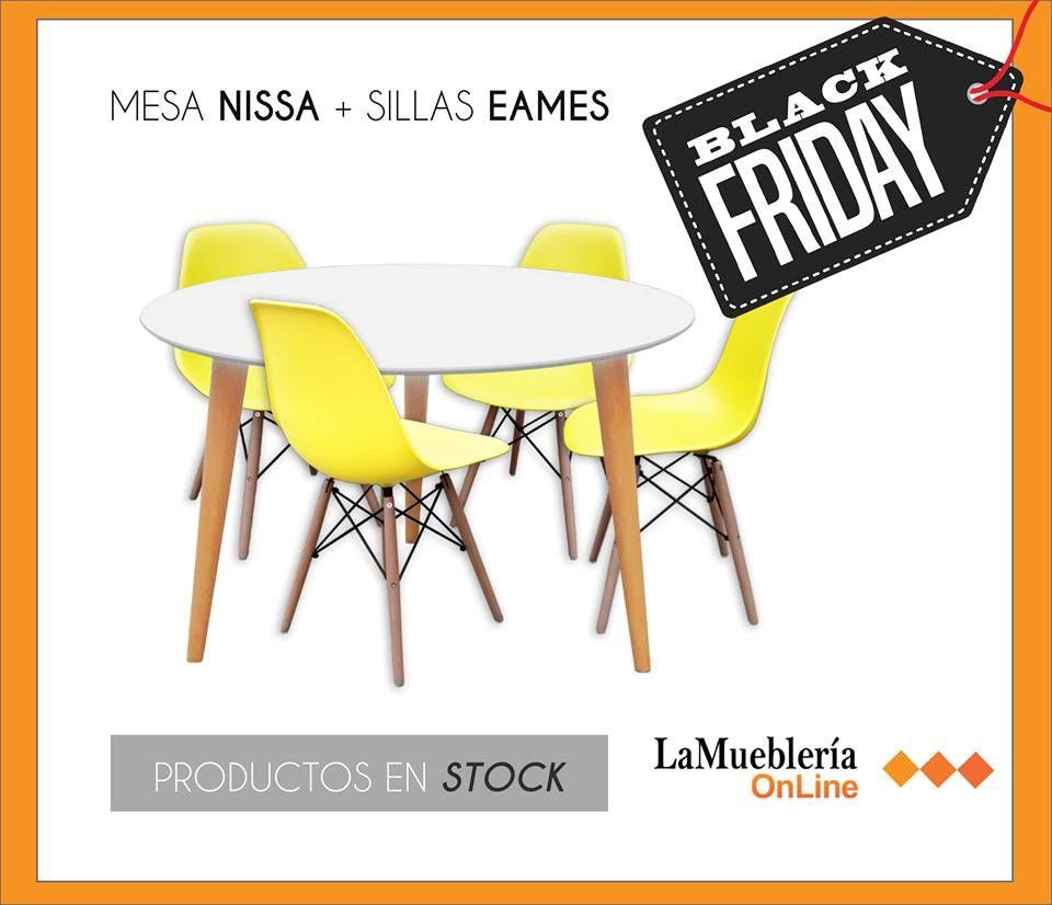 juego de comedor nordico mesa Nissa y sillas Eames yellow   Juegos ...