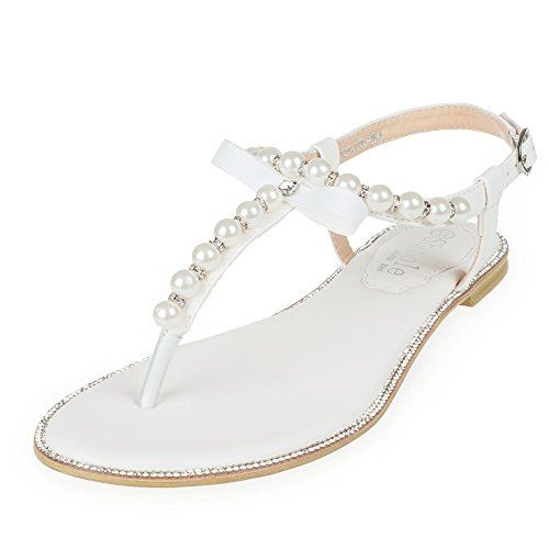 da418b61c1237 SheSole Womens Wedding Shoes Flat Rhinestone Sandals White US 7 -- Read  more reviews of the product by visiting the link on the image.