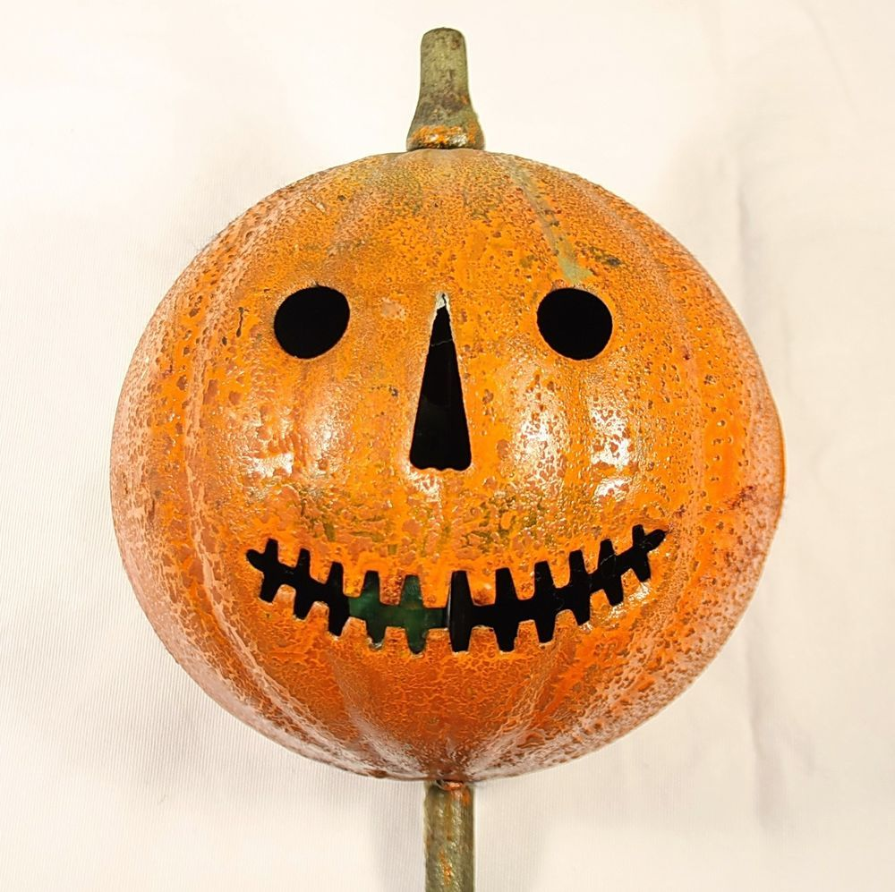 antique early 1900s original tin halloween pumpkin jack o lantern parade stick - Antique Halloween Decorations