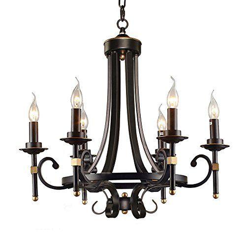 Lnc Antique 5 Light Black Iron Chandelier Candle Light Li Https